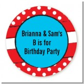 Dr. Seuss Inspired Thing 1 Thing 2 - Round Personalized Birthday Party Sticker Labels