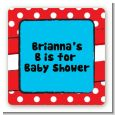 Dr. Seuss Inspired - Square Personalized Baby Shower Sticker Labels thumbnail