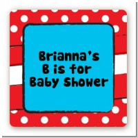 Dr. Seuss Inspired - Square Personalized Baby Shower Sticker Labels