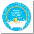 Duck - Round Personalized Baby Shower Sticker Labels thumbnail