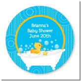Duck - Round Personalized Baby Shower Sticker Labels