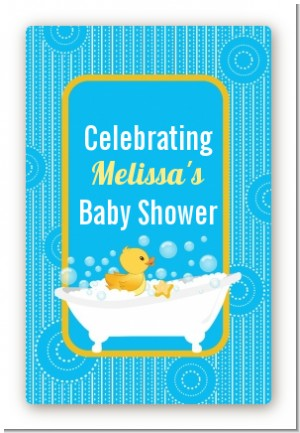 Duck - Custom Large Rectangle Baby Shower Sticker/Labels