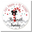 Eat, Drink & Be Merry - Round Personalized Christmas Sticker Labels thumbnail