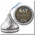 Eat Drink And Be Married - Hershey Kiss Bridal Shower Sticker Labels thumbnail