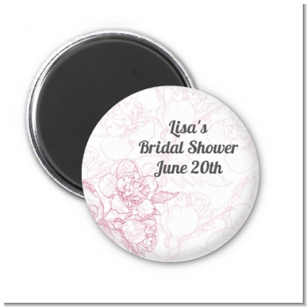 Elegant Flowers - Personalized Bridal Shower Magnet Favors