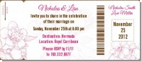 Elegant Flowers - Bridal Shower Destination Boarding Pass Invitations