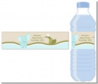 Elephant Baby Blue - Personalized Baby Shower Water Bottle Labels