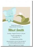 Elephant Baby Blue - Baby Shower Petite Invitations