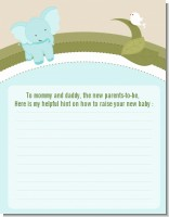 Elephant Baby Blue - Baby Shower Notes of Advice