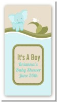 Elephant Baby Blue - Custom Rectangle Baby Shower Sticker/Labels