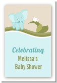 Elephant Baby Blue - Custom Large Rectangle Baby Shower Sticker/Labels