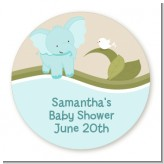 Elephant Baby Blue - Round Personalized Baby Shower Sticker Labels
