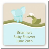 Elephant Baby Blue - Square Personalized Baby Shower Sticker Labels