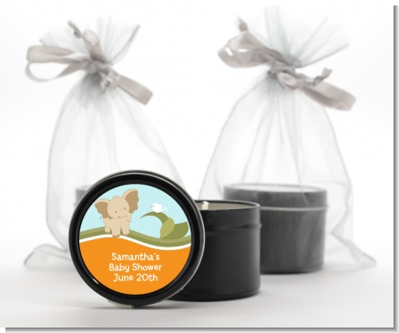 Elephant Baby Neutral - Baby Shower Black Candle Tin Favors