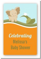 Elephant Baby Neutral - Custom Large Rectangle Baby Shower Sticker/Labels