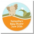 Elephant Baby Neutral - Round Personalized Baby Shower Sticker Labels thumbnail