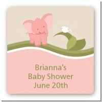 Elephant Baby Pink - Square Personalized Baby Shower Sticker Labels