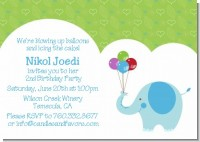 Elephant Blue - Birthday Party Invitations