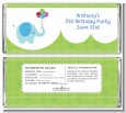 Elephant Blue - Personalized Birthday Party Candy Bar Wrappers thumbnail