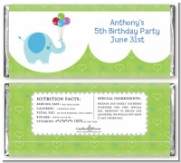 Elephant Blue - Personalized Birthday Party Candy Bar Wrappers