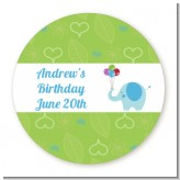 Elephant Blue - Round Personalized Birthday Party Sticker Labels