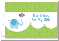 Elephant Blue - Birthday Party Thank You Cards