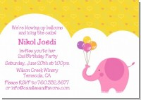 Elephant Pink - Birthday Party Invitations