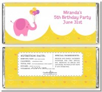 Elephant Pink - Personalized Birthday Party Candy Bar Wrappers
