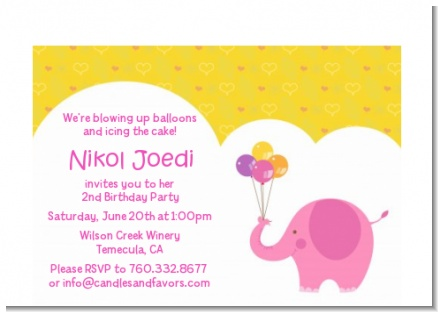 Elephant Pink - Birthday Party Petite Invitations