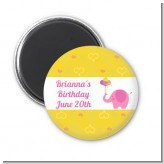 Elephant Pink - Personalized Birthday Party Magnet Favors