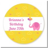 Elephant Pink - Round Personalized Birthday Party Sticker Labels