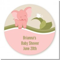 Elephant Baby Pink - Round Personalized Baby Shower Sticker Labels