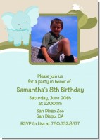 Elephant Blue - Photo Birthday Party Invitations
