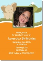 Elephant - Photo Birthday Party Invitations
