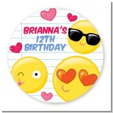 Emoji Fun - Round Personalized Birthday Party Sticker Labels