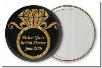 Engagement Ring Black Gold Glitter - Personalized Bridal Shower Pocket Mirror Favors