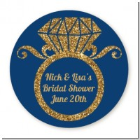 Engagement Ring Blue Gold Glitter - Round Personalized Bridal Shower Sticker Labels