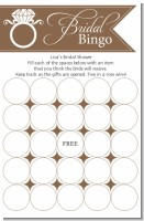 Engagement Ring Chocolate Brown - Bridal Shower Gift Bingo Game Card