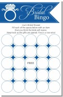 Engagement Ring Dark Blue - Bridal Shower Gift Bingo Game Card