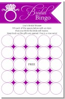 Engagement Ring Dark Purple - Bridal Shower Gift Bingo Game Card