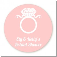 Engagement Ring - Round Personalized Bridal Shower Sticker Labels