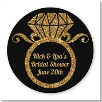 Engagement Ring Black Gold Glitter - Round Personalized Bridal Shower Sticker Labels
