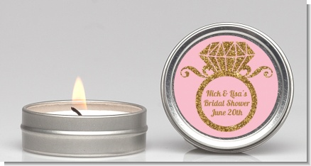 Engagement Ring Pink Gold Glitter - Bridal Shower Candle Favors