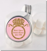 Engagement Ring Pink Gold Glitter - Personalized Bridal Shower Candy Jar