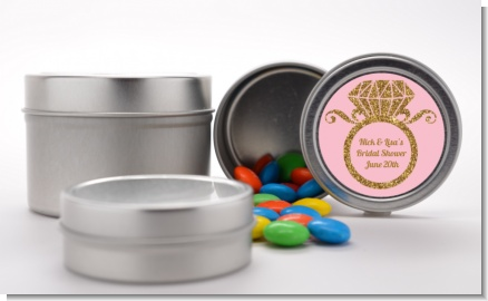 Engagement Ring Pink Gold Glitter - Custom Bridal Shower Favor Tins