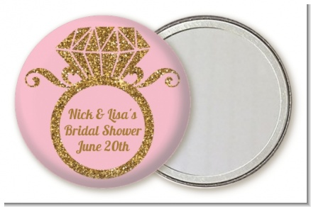 Engagement Ring Pink Gold Glitter - Personalized Bridal Shower Pocket Mirror Favors