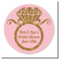 Engagement Ring Pink Gold Glitter - Round Personalized Bridal Shower Sticker Labels thumbnail