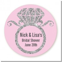 Engagement Ring Silver Glitter - Round Personalized Bridal Shower Sticker Labels