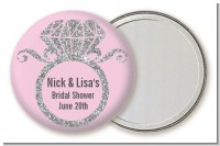 Engagement Ring Silver Glitter - Personalized Bridal Shower Pocket Mirror Favors