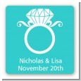 Engagement Ring - Square Personalized Bridal Shower Sticker Labels thumbnail